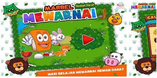 Game untuk Mengasah Perkembangan Otak anak Marbel Mewarnai Hewan Darat apk