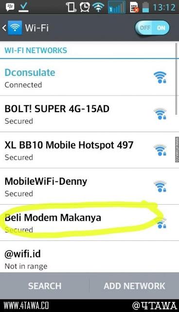 Nama Hotspot Wifi Lucu Suruh Beli Modem