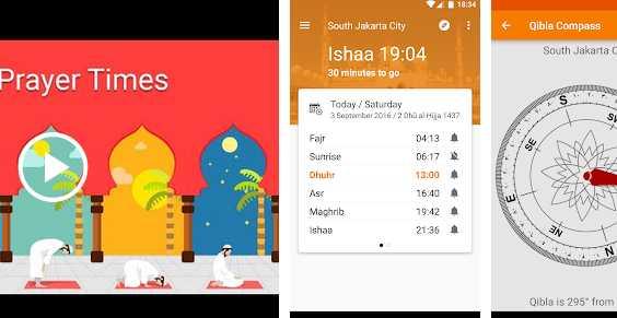 Aplikasi pengingat sholat Waktu Salat, Imsakiyah, Qibla