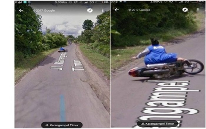 Foto Lucu Google Street View ibu-ibu nyungsep dari motor