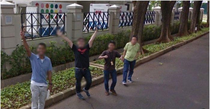 Foto Lucu Google Street View melambaikan tangan