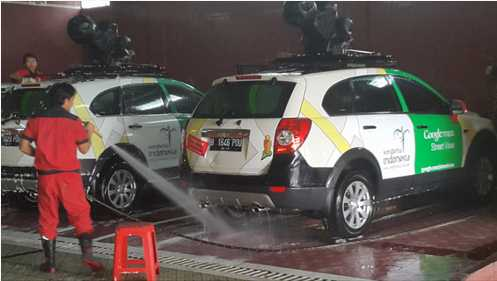 Foto Lucu Google Street View mobil gogle di cuci