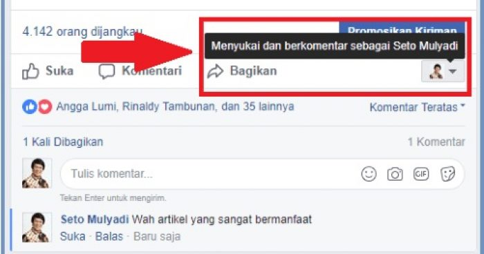 Cara Komentar di Facebook Pakai Nama Kak Seto Tanpa Bikin
