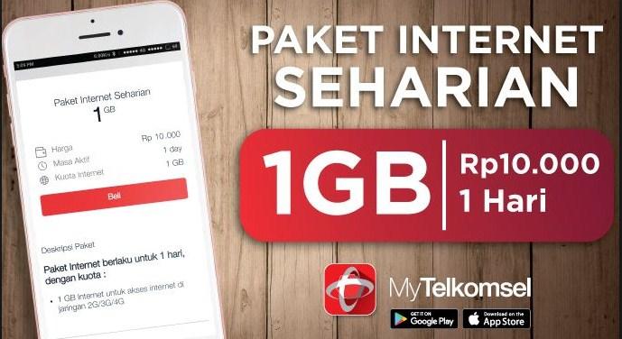 Paket Internet Murah Telkomsel Rp 10 Ribu dapat Kuota 1GB 24 Jam