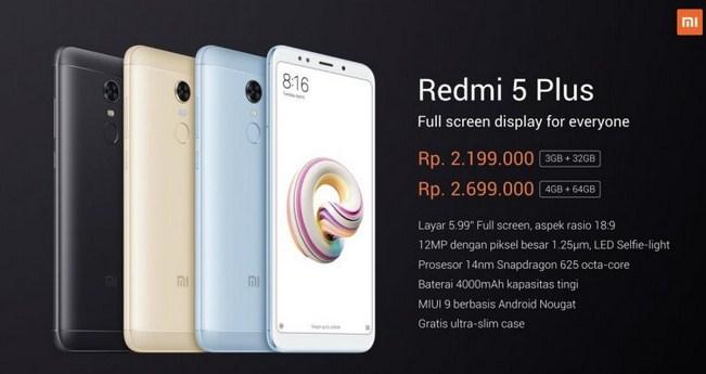 Harga Xiaomi Redmi 5 Plus dan Spesifikasi Lengkap Terbaru 2018
