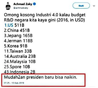 tweet achmad zaky yang dianggap iut bermain politik dan pro dengan salah satu kubu.