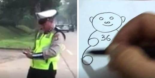 Meme rusak motor Polisi menggambar