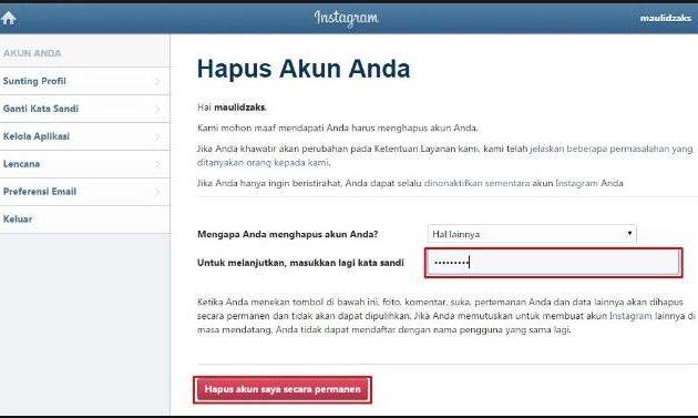 cara hapus akun instagram sementara bahasa Indonesia